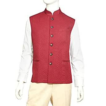 Tia Fashion Red Linen Vest For Men