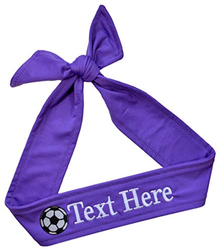 Design Your Own Soccer Ball (Funny Girl Designs Soccer TIE Back Moisture Wicking Headband Personalized with The Embroidered Name of Your Choice (Purple TIE)