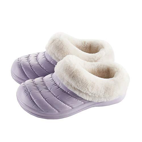 Chaussures À SFHK Accueil Unisexe Antidérapant Peut EVA Être Chaussons Épais Garder L'extérieur Chenille Purple Fond Coton Imperméable Hiver Porté Au Chaud Intérieur rRYrTxw