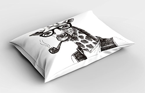 Lunarable Quirky Pillow Sham, Giraffe Smoking Pipe Dressed Up Fancy Zoo Animal Fun Hipster Style Drawing, Decorative Standard Queen Size Printed Pillowcase, 30 X 20 Inches, Charcoal Grey White
