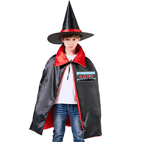 (Halloween Children Costume Chicago Skyline Wizard Witch Cloak Cape Robe And Hat)