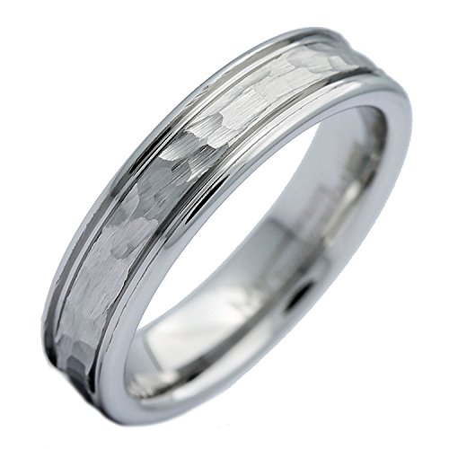 MJ Metals Jewelry White Tungsten Carbide Hammered Center Polished Edge 5mm Wedding Band Ring Size 8.5 5mm Hammered Band Ring