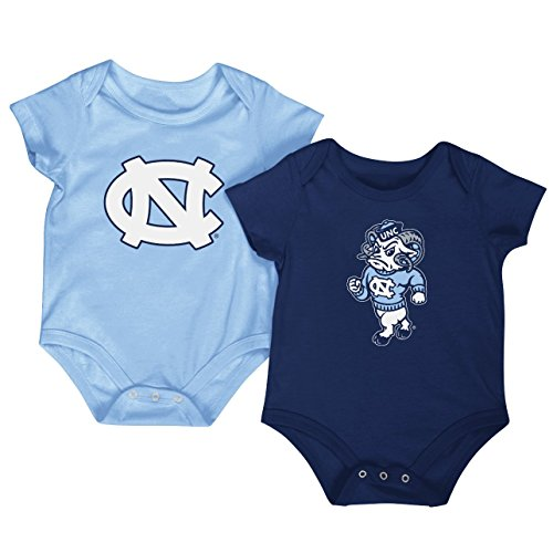 (Colosseum NCAA Short Sleeve Bodysuit 2-Pack-Newborn and Infant Sizes-North Carolina Tar Heels-0-3 Months)