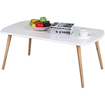 Yaheetech Modern Pine Coffee Table White Gloss Table Top Natural Wood Legs  Living Room Furniture