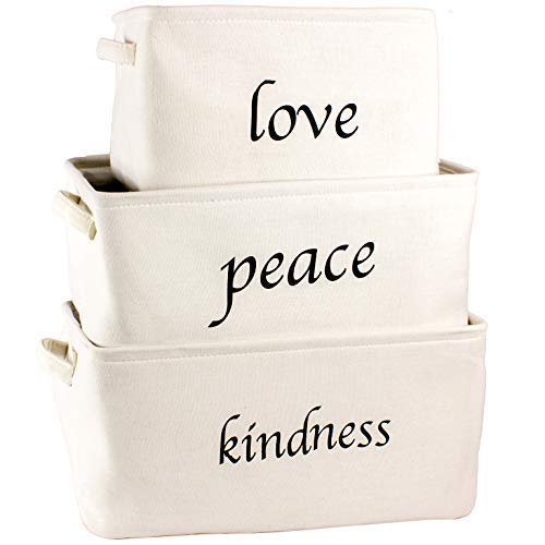 Lilly's Love Storage Baskets Organizer Set, 3 Pack White Nesting - Popular Canvas Storage Bins for Closet, Kitchen or Bathroom Organizing