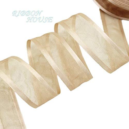 (50 Yards/roll) 1'' (25mm) White Broadside Organza Ribbons Wholesale Gift Wrapping Decoration Ribbons - Organza Ribbon Wholesale
