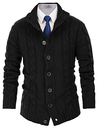 PAUL JONES Mens Thick Warm Stand Collar Button Front Cardigan Sweater 2XL Black ()