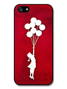 Banksy Balloon Girl Silhouette Red Street Art case for iPhone 5 5S 488I