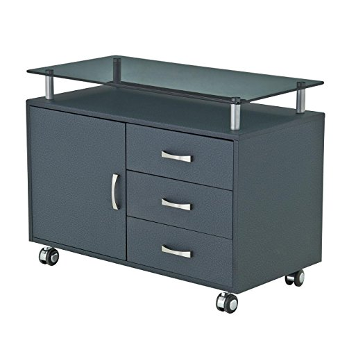 Rolling Storage Cabinet With Frosted Glass Top. Color: - Glass Frame Frosted Black