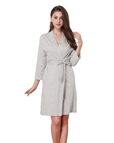 Memory baby Womens Bathrobe Three Quarter Sleeve Robe Cotton Comfort Sleepwear Grey S