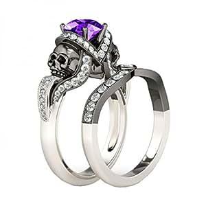 Araska Diamond 1.25 CT White & Purple Amethyst CZ 14K Black & White Gold Fn Halloween Engagement Ring (10)