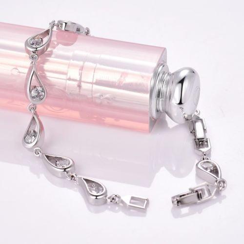 Gozebra(TM) Alluring Pear Bling Topaz Crystal Rhinestone Engagement Bracelet Chain For Women