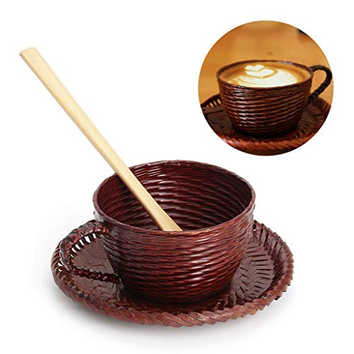 (Vintage Bamboo Cup Woven Impermeable Leakage Coffee Mug With Spoon Dish)