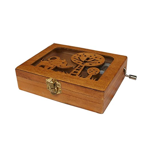 Engraved Elephant (Balai Engraved Wooden Music Box With A Elephant Engraved On Top Animal Hand Wind Up Mechanism Music Box)