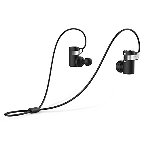 Stereo Canal (Urvoix Bluetooth 4.1 Stereo Music Earphone Active Noise Cancelling Sport Running Portable Wireless Headset Earbuds with Mic fits for Phone and Tablet, In-Ear-Canal Design Black Color)