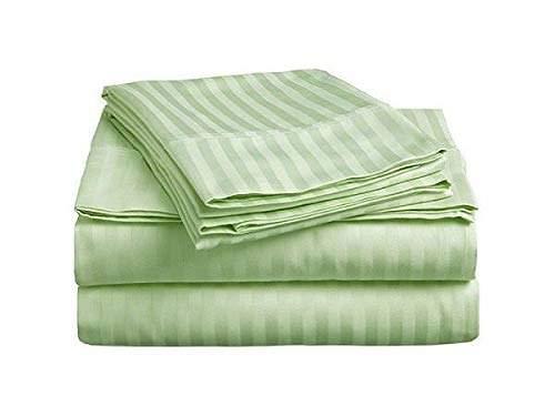 - 4 Piece Sheet Set - 500 Thread Count 100% Egyptian Cotton - Fits Mattress Upto 9'' Deep Pocket - Full, Sage Stripe