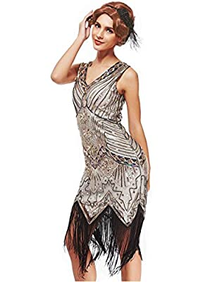 Women's 1920s Art Deco Flapper Dresses- Vintage Inpired Sequin beaded Fringed Great Gatsby Dresses