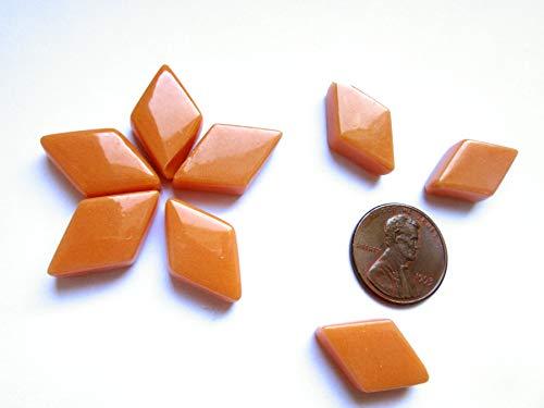 55 Bright Orange Mosaic Tiles, Diamond Shape Tiles, Black Geometric Glass Tiles from Shining Eye Arts