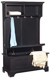 Home Styles 5531-49 Bedford Hall Tree and Storage Bench, Black Finish