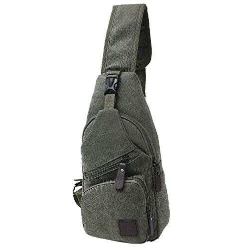 Canvas Chest Pack Crossbody Casual Sling Shoulder Bag(502) (army green) by STIUCCE