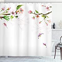Ambesonne Watercolor Shower Curtain, Apple Tree Blooming in Spring Season Branches Falling Leaves Romantic, Cloth Fabric Bathroom Decor Set with Hooks