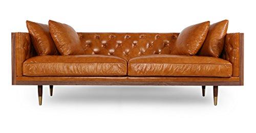 Kardiel Woodrow Neo Classic Midcentury Modern Sofa, Walnut/Tan Aniline Leather