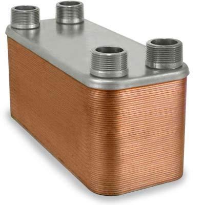 "Brazed Plate Heat Exchanger SS316L 4/""x12/"" 50 Plates 1/"" MPT 430,000 BTU"