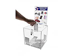 "Marketing Holders Ballot Box or Suggestion Box with Lock 10"" x 10"" with Header, Clear Premium Acrylic"