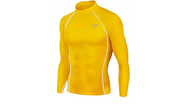 87e9ce4176a Amazon.com  New 067 Skin Tight Compression Base Layer Yellow Running Shirt  Mens S - 2xl  Sports   Outdoors