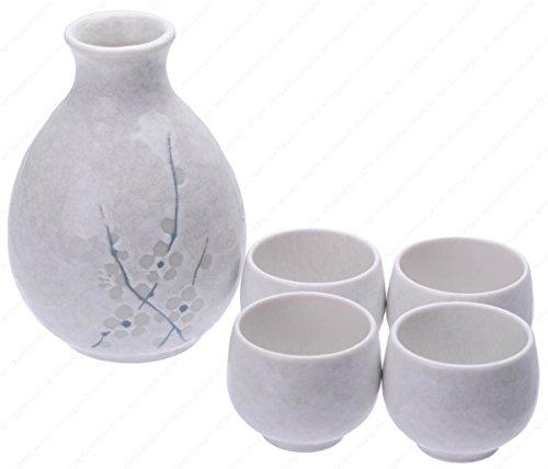 (M.V. Trading MFJQ7WPV Japanese Five Pieces Ceramic Sake Set with Cherry Blossom, White Cherry Blossom, (Bottle: 12-Ounces | Cups: 1-Ounces))