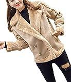 Cromoncent Women's Winter Sueded Lapel Fleece Double Breasted Moto Biker Jacket Coat Coffee L