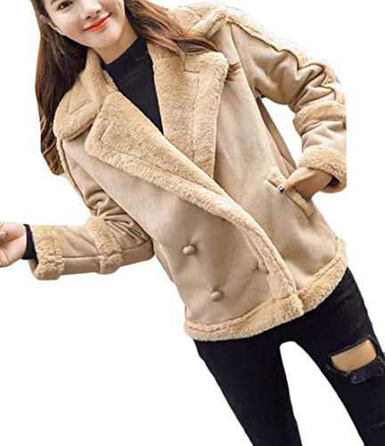 Cromoncent Women's Winter Sueded Lapel Fleece Double Breasted Moto Biker Jacket Coat Coffee L by Cromoncent
