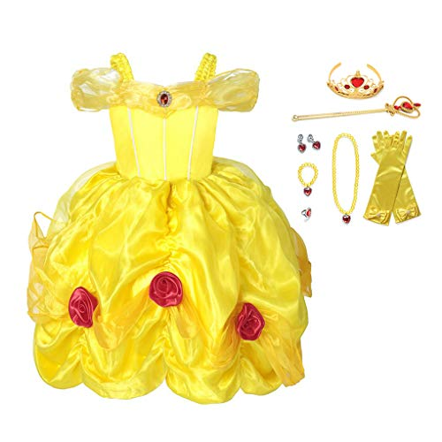 Muababy Girl Dress Belle flower Costume Party Cosplay Dress up with accessories (2 Years, Yellow)
