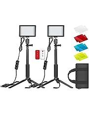 Neewer Regulable 5600K USB LED Video Light 2-Pack con control remoto, soporte de trípode, filtros de color y bolsa para sobremesa / disparo de ángulo bajo, zoom / iluminación de videoconferencia / juegos en vivo / YouTube / fotografía