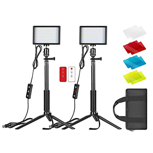 Neewer Dimmable 5600K USB LED Video Light 2-Pack with Remote Control,Tripod Stand,Color Filters and Bag for Tabletop/Low-Angle Shooting,Zoom/Video Conference Lighting/Gaming Live/YouTube/Photography