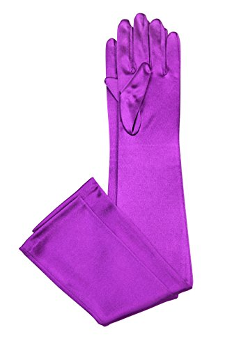 Party Satin Bridal Gloves Stretch Fabric Opera Length - 58cm (16 BL) (Purple Satin Gloves)