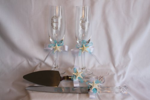 (Beach Wedding Toasting Fultes and Cake Server Set Knobby Starfish Champagne Flutes and Cake Server Set )