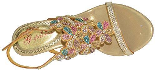 Abby Femmes Fête De Mariage Spectacle Travail Confort Mi-talon Microfibre Sandales Or