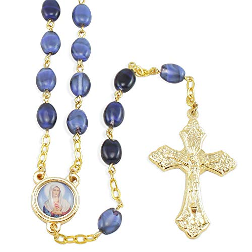 Sacred Heart of Mary Blue Pressed Stone Beads Rosary