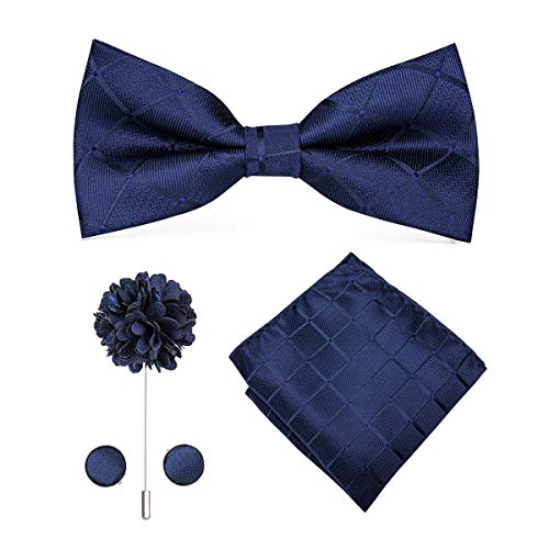 Navy Lapel Pin - Dubulle Navy Blue Plaid Bowtie Lapel Pin and Hanky Cufflinks for Men