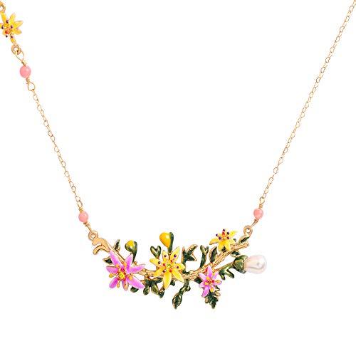 JUICY GRAPE Ladies Exquisite Cloisonné Handmade Enamel Necklace for Women, Vintage Real Gold, Multi Stones, Colorful Lily Flowers