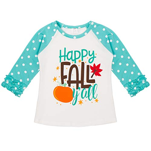 Baby Toddler Girl Icing Ruffle Tops Unicorn Raglan T-Shirt Boutique Tee Soft Shirt Halloween Costume Birthday Clothes Bluish Green Happy Fall Y'all 3-4 Years -