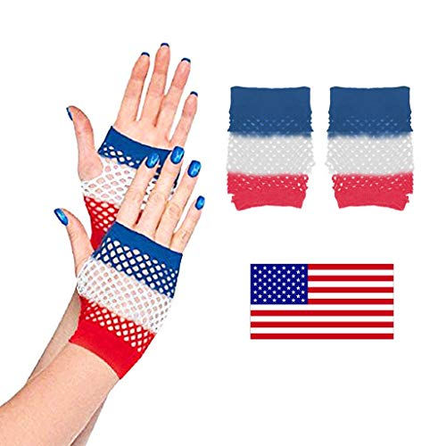 Fine 4th of July Fingerless Mesh Fishnet Gloves for Independence Day Mardi Gras Party Decoration, Red, Blue and Silvery (Multicolor)