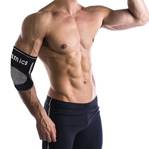 Oramics Sport - Ellenbogenbandage aus hochwertigem Strickgewebe - Stabilisiert und wärmt - In Schwarz (Unisize, Ohne-Loch)