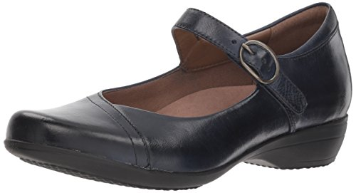Dansko Women's Fawna Mary Jane Flat Navy Burnished Calf