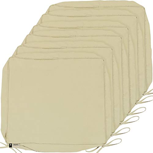 Outdoor Cushion Covers, 6-Pack Water Repellent Deep Seat Patio Cushion Cover, Outdoor Furniture Lawn Couch Sofa Chair Seat Cushion Replacement, 24 x 22 x 4 Thick, Set of 6, Beige