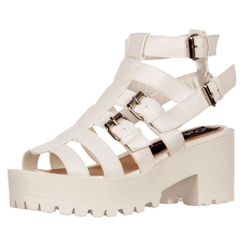 Onlineshoe Women's Cut Out Gladiator Platform Strappy Buckles Summer Sandals White Pu