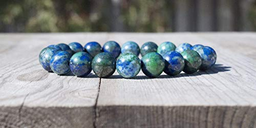 Azurite Bracelet 8mm Round Blue Green Azurite-Malachite Bead Bracelet ()