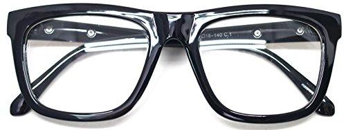 Nerd Geek Retro Square Oversized Horn Rim Classic Eye Glasses Clear Lens Spectacles - Black Rimmed Big Glasses
