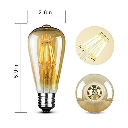 Edison LED Bulb, Amber 6W Vintage Edison LED Filament Light Bulb Edison lamp, 2800K Daylight (Warm White), 60W Incandescent Equivalent, E26 Base Lamp for Restaurant,Home,Reading Room,Office Pack of 1